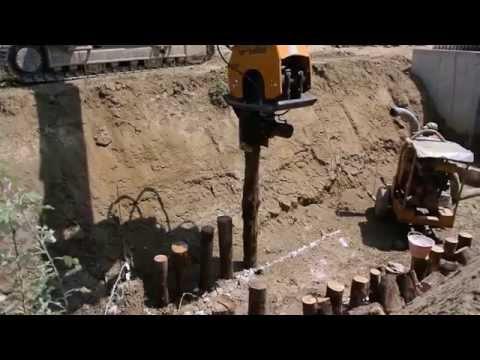 ORTECO ОРТЕКО PV. Оборудование для забивания деревянных столбов методом вибропогружения.