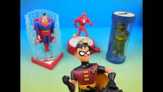2005 DC SUPERHEROES JUSTICE LEAGUE SET OF 4 McDONALDS HAPPY MEAL KIDS TOYS VIDEO REVIEW