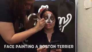 Face Painting A Boston Terrier - Time Lapse
