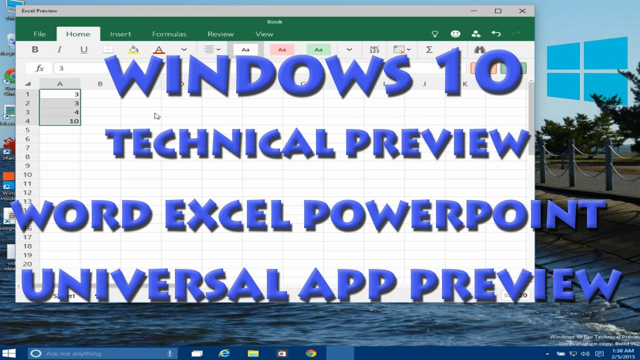 3890b2a7f7cb80 Windows 10 Technical Preview - Microsoft Word Excel Powerpoint Universal App  - YouTube