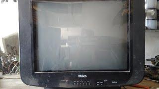 ( 52 )# TV PHILCO COM BARULHO INTERNO AO LIGAR E COM VERTICAL FEICHADO PARCIALMENTE