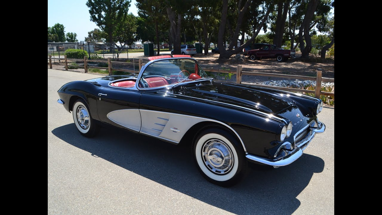 1961 Black Corvette Convertible, Red Interior, 270hp For
