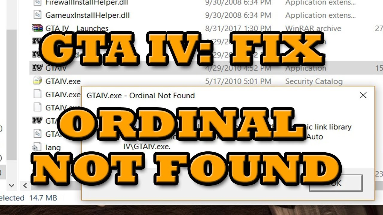 [FIX] GTA 4 (IV): Ordinal not Found | GTAIV exe Ordinal 5365 could not be  located