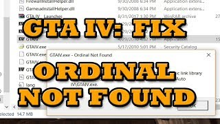 [FIX] GTA 4 (IV): Ordinal not Found | GTAIV.exe Ordinal 5365 could not be located
