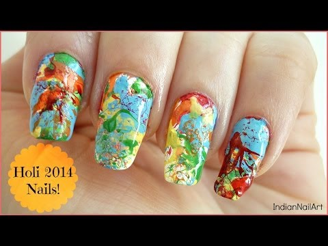 Holi Nail Art! In Hindi [with English Subtitles] - IndianNailArt
