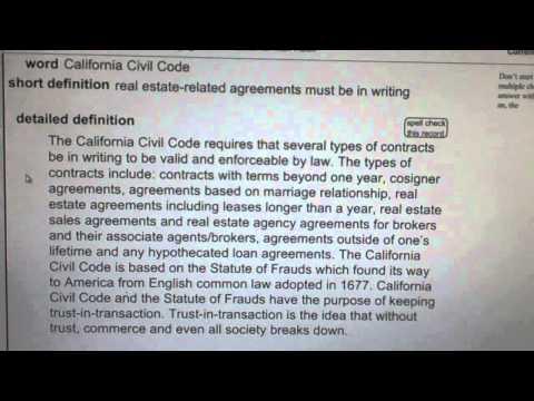 California Civil Code CA Real Estate License Exam Top Pass Words VocabUBee.com