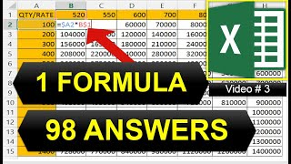 Microsoft Excel Video-3 | learn MAGIC! trick of Excel (1 Easy Formula=98 Answers)