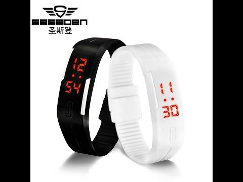 Обзор Браслет часы спорт, поход, туризм Сенсорный экран из светодиодов цифровые часы