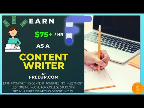 Earn $75+ per hour as a freelance writer online|content writer job|freeup.com|online money goals