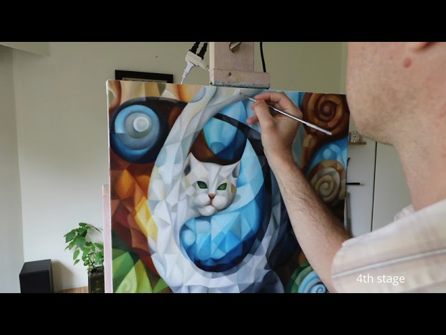 Surrealist, cubist. Creative flow. The making of the original oil painting on canvas