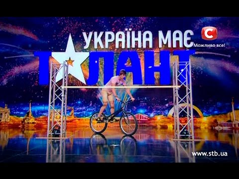Guy sets the record jumping on a bike on Ukraine's got talent