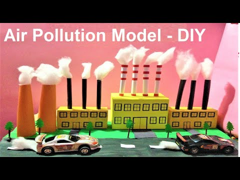air pollution model | factory model | science school exhibition | best out of waste