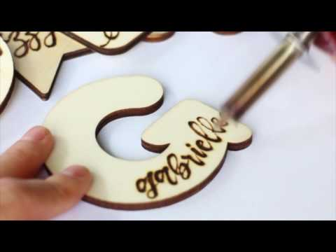 DIY woodburning name tags for gifts, weddings, The Aloha Studios