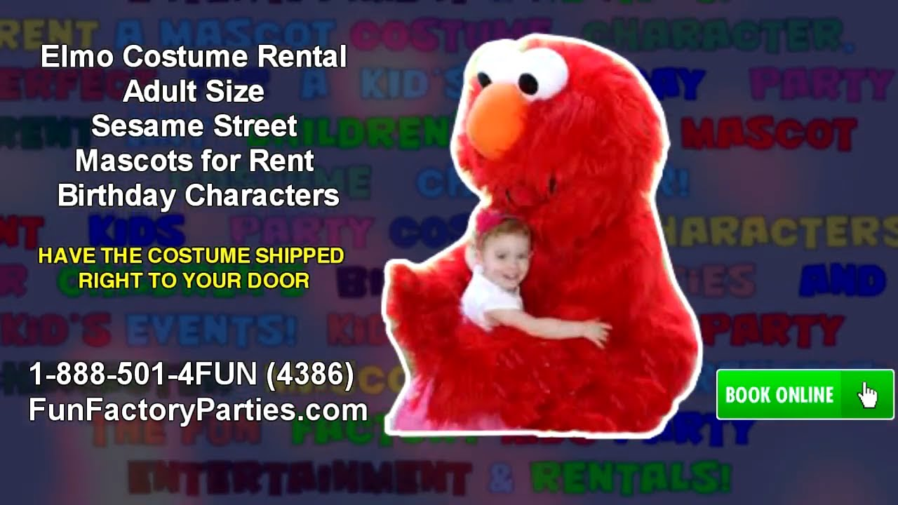 Bubble guppies character rental - Elmo Costume Rental Adult Size Sesame Street Mascots For Rent Birthday Characters Youtube