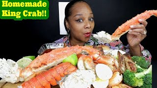 HOMEMADE KING CRAB SEAFOOD BOIL MUKBANG WITH HOT N JUICY SAUCE!