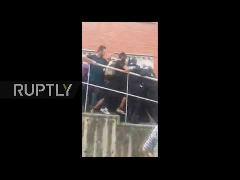 Spain: Civil Guard clash with Mossos officers outside polling station