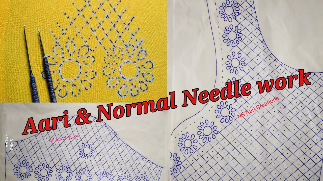 Mirrors & Kundans Design Using Aari Work & Normal Needle Stitching including Tracing Papers