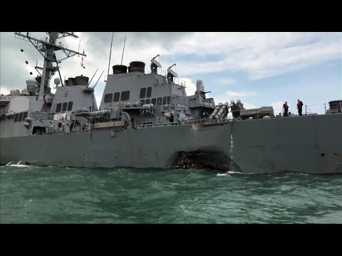 Another violent collision involving a Navy destroyer
