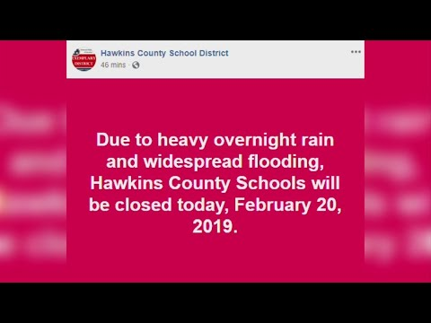 Hawkins County Schools closed due to reported flooding, more rain expected to enter the region