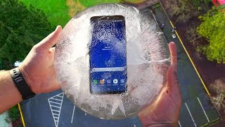 Can Galaxy S8 Frozen in Ice Block Survive 100 FT Drop Test? - GizmoSlip