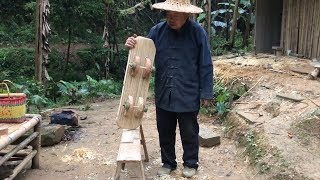 Man makes a skateboard for his grandson using only bamboo and hand tools.