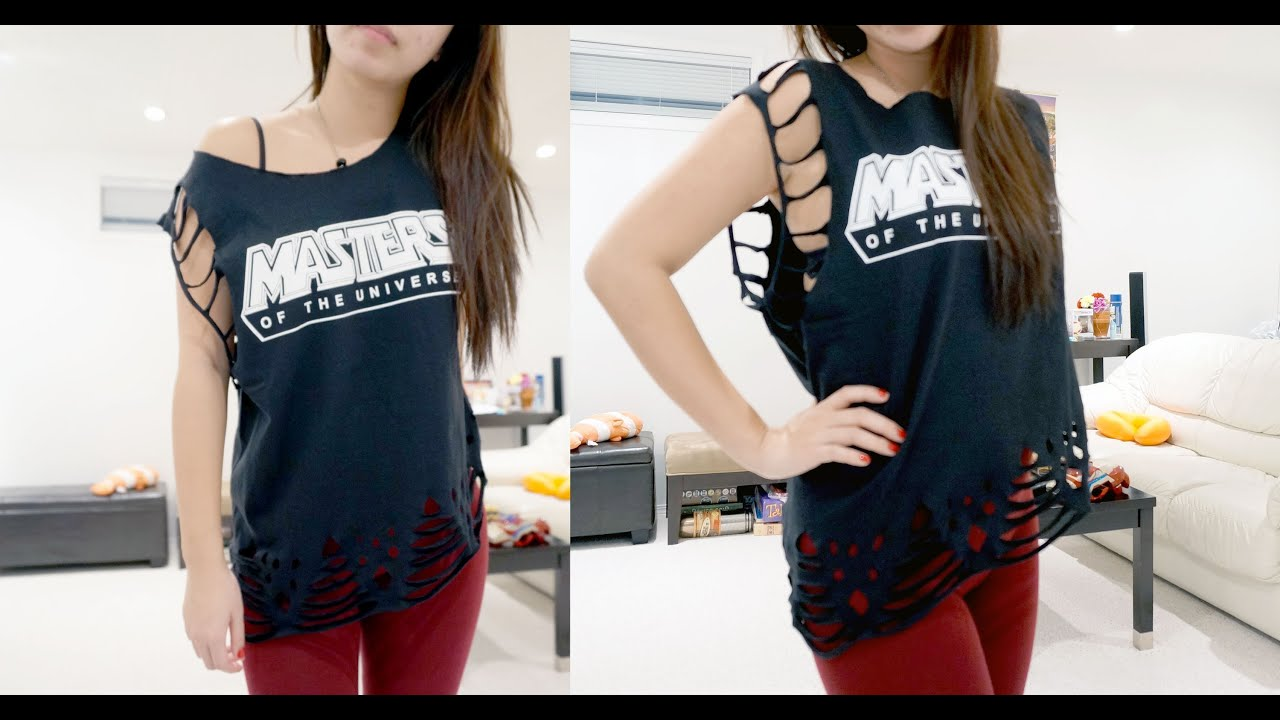 Shirt design with laces - Diy Lace T Shirt With Slant Master Of The Universe T Shirt Tutorial Youtube