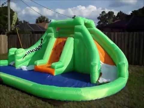 unboxing blast zone crocodile isle dual slide bounce house youtube