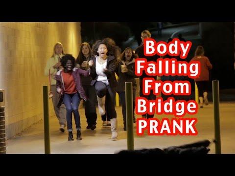Body Falling From Bridge Prank