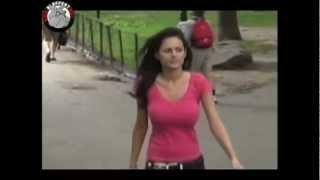 Busty video Candid boob walking