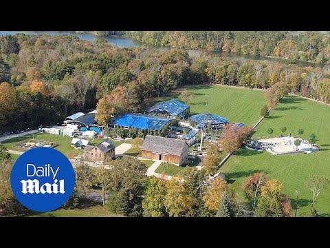 Download Aerial views show final wedding prep at sprawling Gates estate