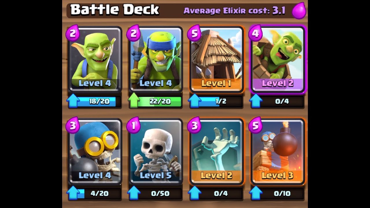 Clash Royale Only Skeleton And Goblin Cards Gameplay
