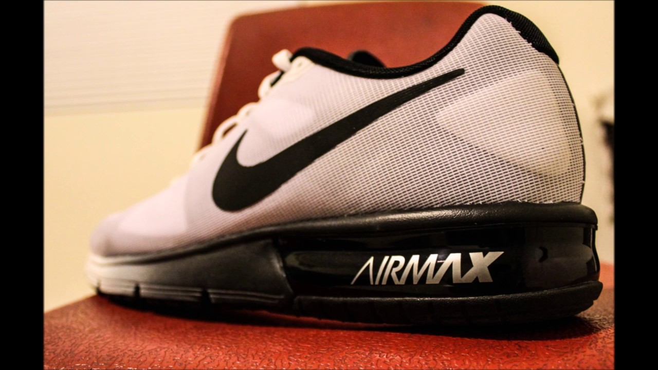 nike air max sequent on feet white black youtube. Black Bedroom Furniture Sets. Home Design Ideas
