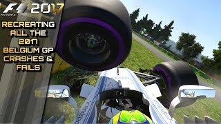F1 2017 GAME: Recreating All The 2017 Belgium GP Crashes & Fails