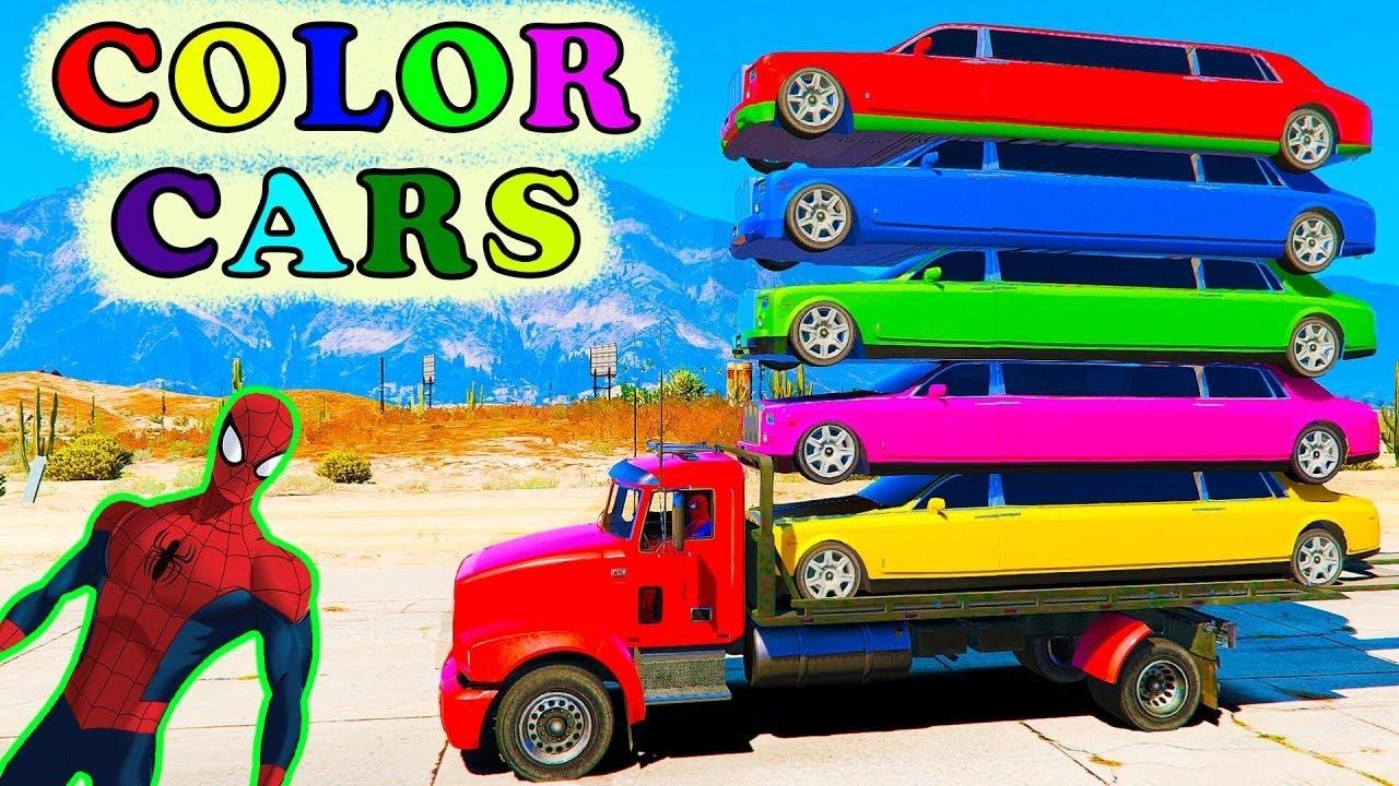 Kolor Limuzyna I Spiderman Samochody Kreskówki Dla Dzieci I Zabawnych Kolorach