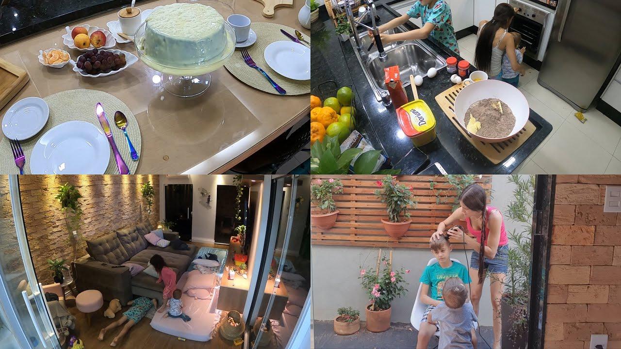 CORTEI O CABELO DO ENZO + DORMIMOS NA SALA + MESA POSTA NO CAFE DA MANHÃ #FAMILIAPIROLO