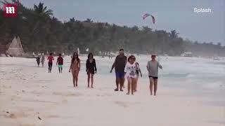 Нина Добревна пляже в Тулуме, Мексика с другом Keleigh Sperry  17.01.2018