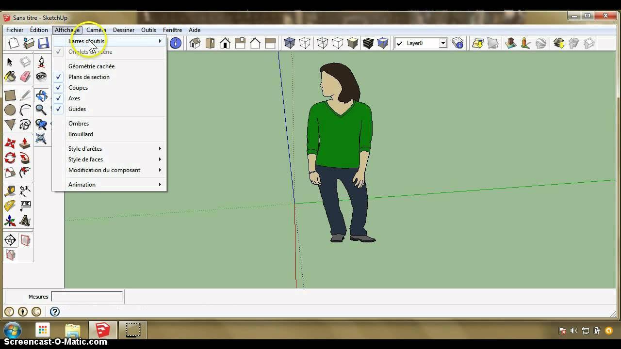 Tutoriel sketchup partie 1 barre d 39 outils youtube for Outil miroir sketchup