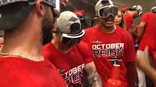Cardinals celebrate in the clubhouse after  winning the Central Division