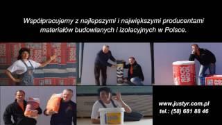 Justyr styropian, styrodur, wełna, tynki, kleje, farby, ocieplanie budynku Gdańsk pomorskie