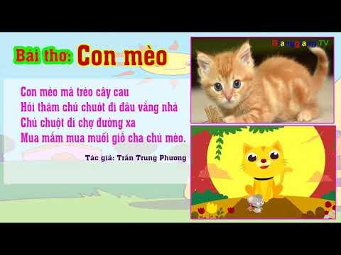 Bài thơ Con mèo – Thơ truyện mầm non – Đọc thơ cho bé [ GianggiangTV ]