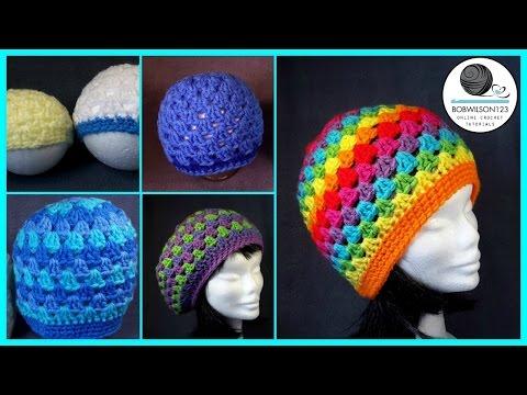 Crochet Granny Stitch Hat 5yr old / Adult Tutorial