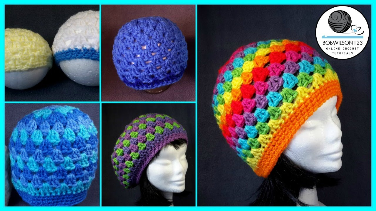 Crochet granny stitch hat 5yr old adult tutorial youtube baditri Image collections