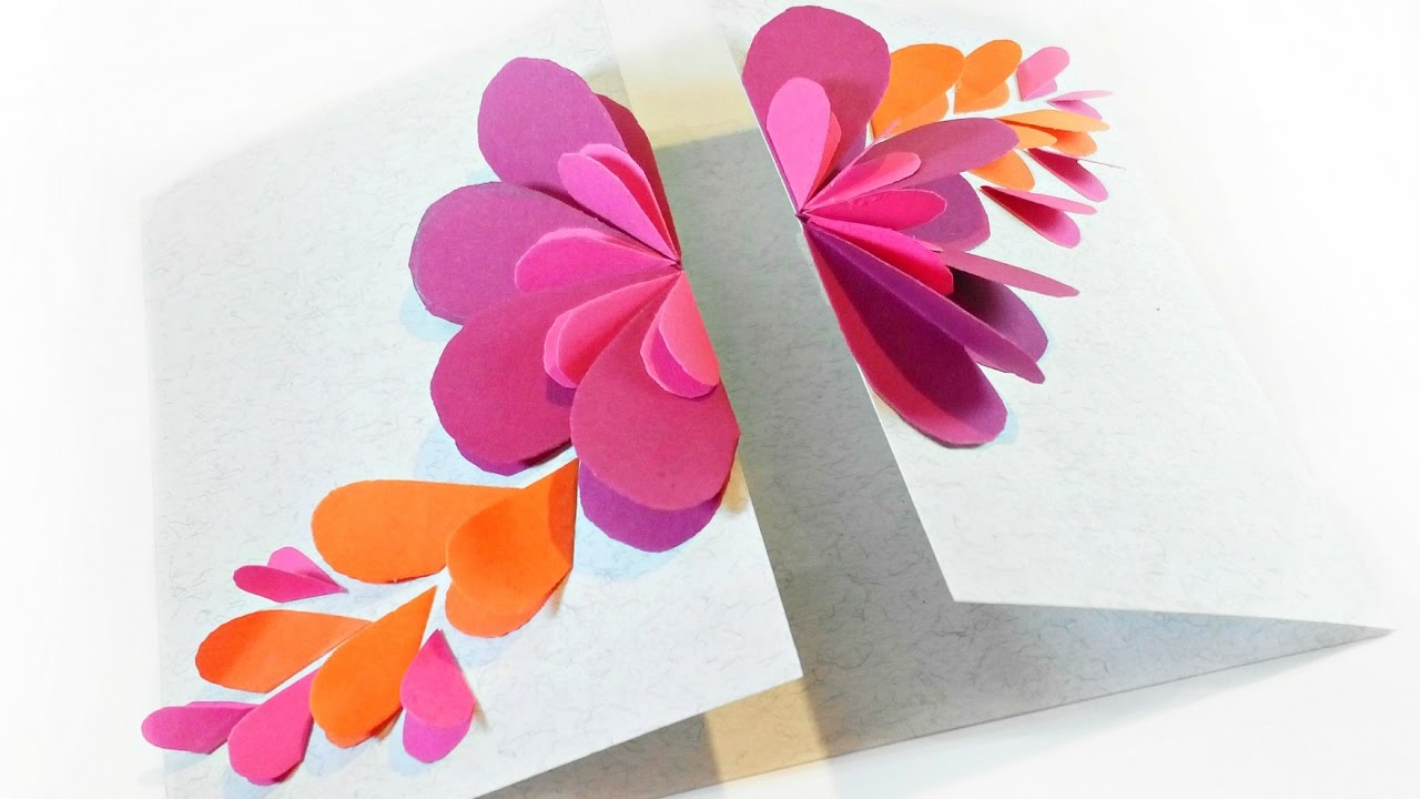 Handmade Card For Birthday Folded Heart Floral Card Tutorial Die