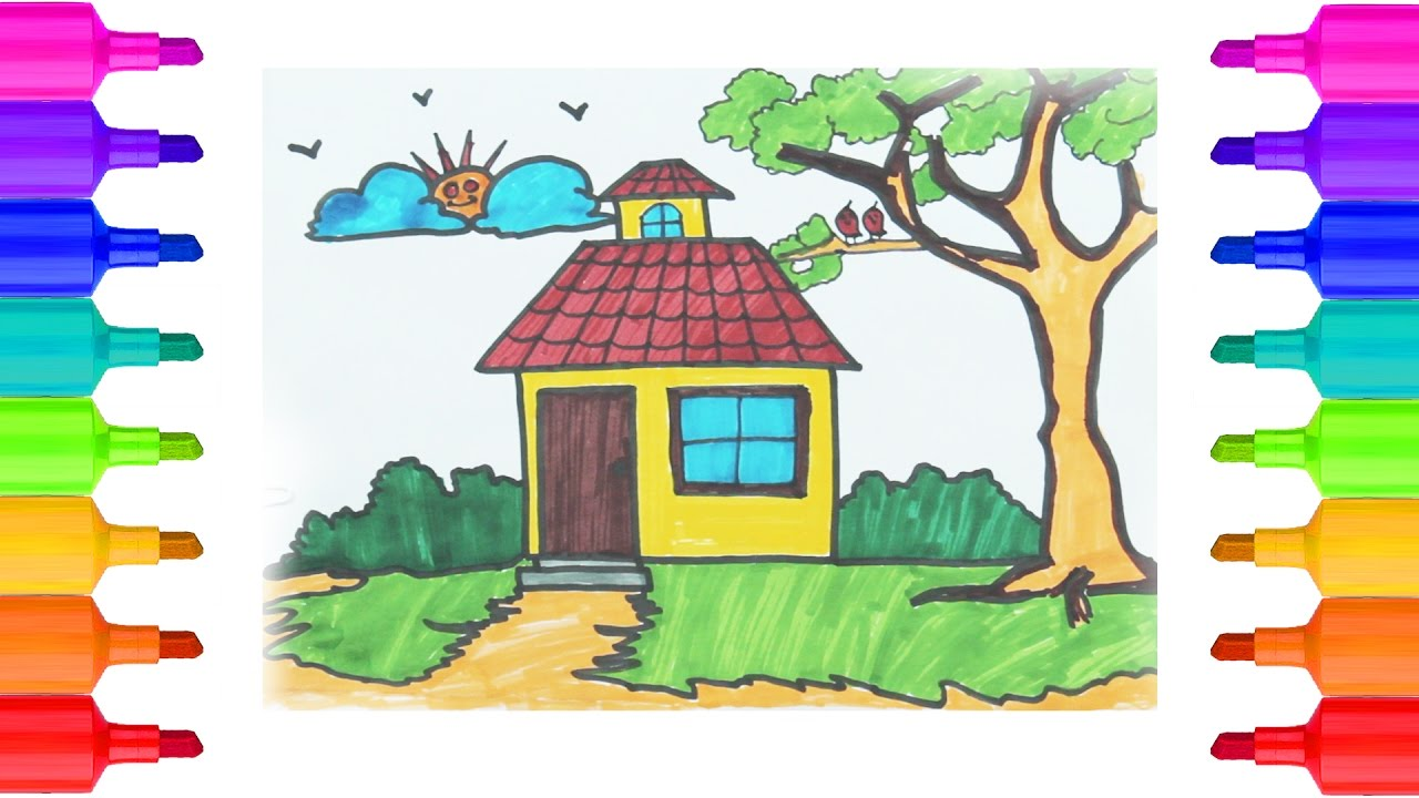 LearnHow to Draw House Coloring Pages for Kids Drawing for