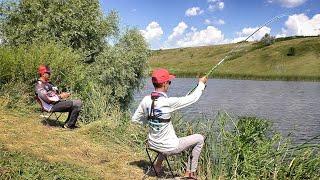ЛОВИМ КАРПА НА ФЛЭТ ФИДЕР и КАРАСЯ НА ПОПЛАВОК | Рыбалка с сыном | ХЕРАБУНА
