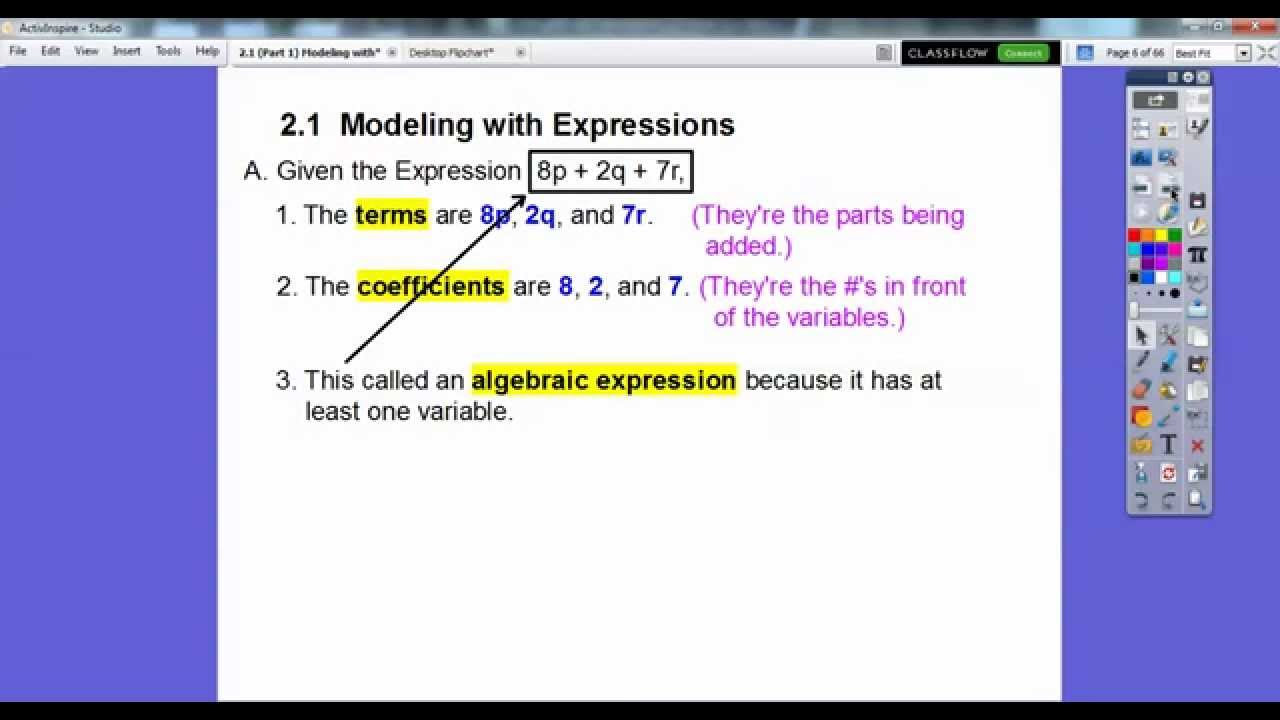 Modeling with Expressions - Lesson 2 1 (Part 1)