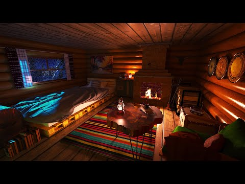 Sleep in a Cozy Winter Hut with Blizzard and Fireplace Sounds for Sleep