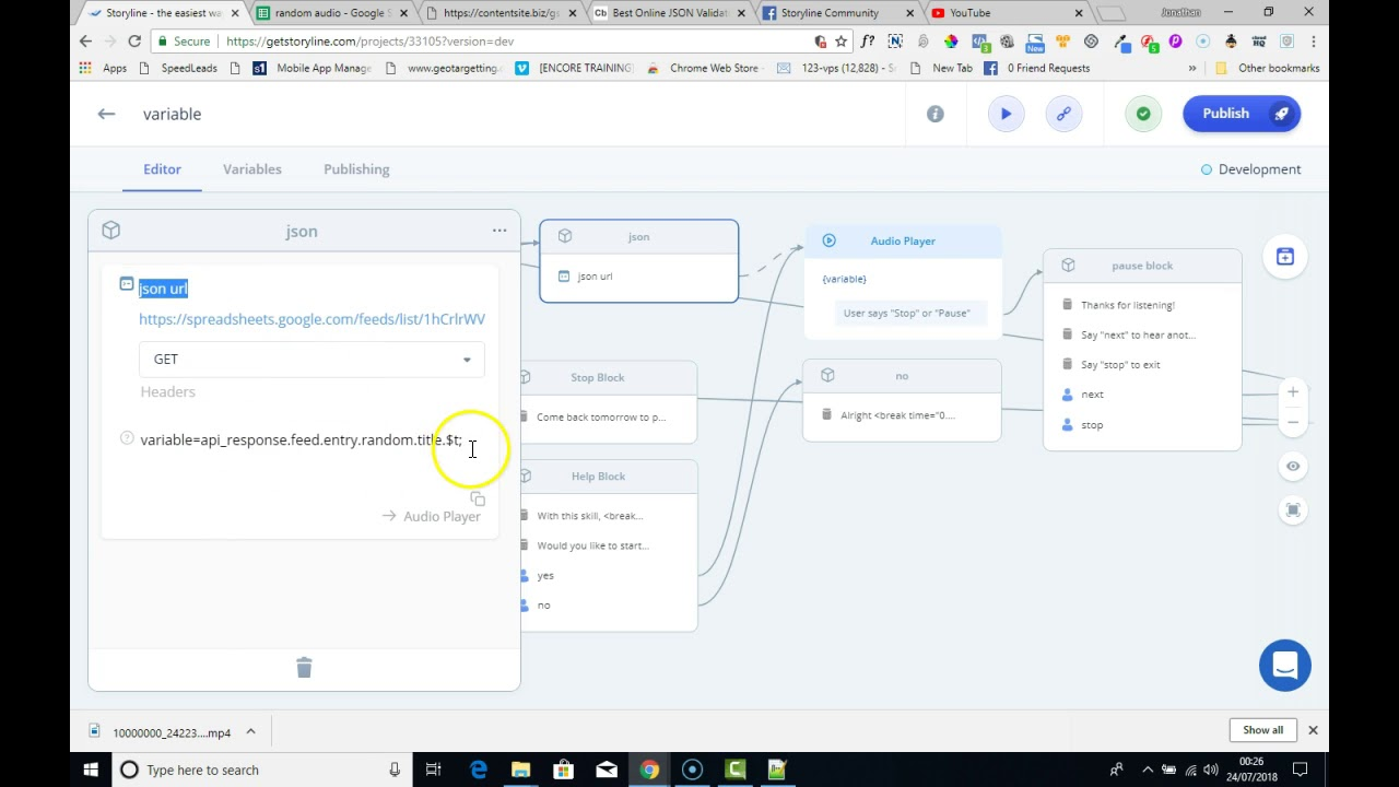 Alexa skill using a google sheet and the Audio player