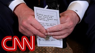 connectYoutube - Trump's note card for shooting discussion: 'I hear you'