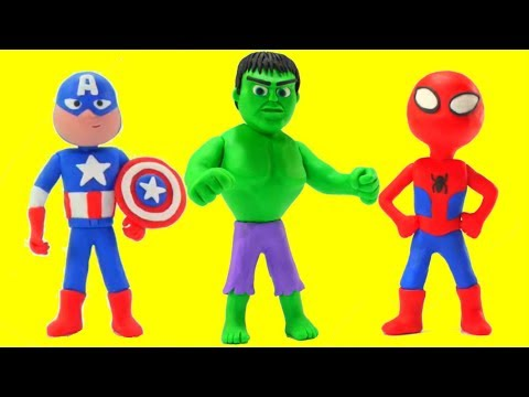 Hulk, Spiderman & Captain America Play Doh Cartoon w/ Frozen Elsa & Superhero Babies Stop Motion
